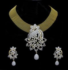 Indian CZ AD Gold & Silver Bollywood Gorgeous Necklace Bridal Swam Jewelry 05