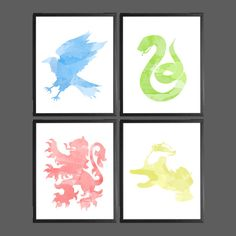 Harry Potter Watercolor Modern Art Prints - Set of 4