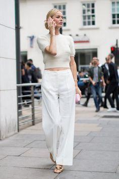 London Fashion Week Street Style Spring 2017 // white wide leg trousers