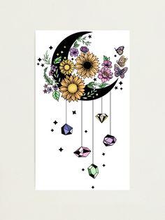 Crystal Drawing, Crystal Tattoo, Sunflower Art, Sunflower Tattoos, Moon Drawing, Cute Tattoos, Girly Tattoos, Beautiful Tattoos, Tatoos
