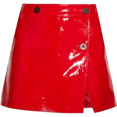 Topshop Unique Patent-leather wrap mini skirt (£137) ❤ liked on Polyvore featuring skirts, mini skirts, bottoms, saia, topshop, shiny mini skirt, wet look skirt, short skirt, shiny skirt and red wrap skirt