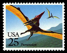 The Pteranodon was something like six times larger than the more well-known Pterodactyl, and unlike the Pterodactyl it did not have teeth inside its beak. Copyright United States Postal Service. All rights reserved.