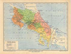 Vintage Costa Rica Map