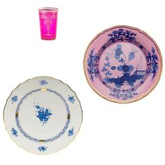 Moroccan glass cups, $7 each abchome.com; Herend Chinese bouquet blue dinner plate, $145; bloomingdales.com; Richard Ginori 1735 Oriente Italiano azalea dessert plate, for information: richardginori1735.com