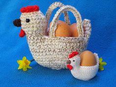 Chicken Egg Hunt Basket Easter Bowl Amigurumi by Millionbells Egg Basket, Easter Baskets, Crochet Hook Sizes, Crochet Hooks, Half Double Crochet, Single Crochet, Crochet Chicken, Cute Chickens, Crochet Diy