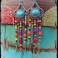TURQUOISE GYPSY hippie EARRINGS