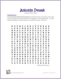 Antonin Dvorak | Composer Word Search Worksheet - http://makingmusicfun.net/htm/f_printit_free_printable_worksheets/anton-dvorak-word-search-worksheet.htm