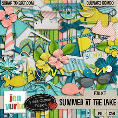 """Just in time for summer, """"Summer At The Lake"""" by Jen Yurko and Valerie Ostrom, has everything you need to scrap photos of fishing, swimming, sailing or just spending time in the sun at the beach. In addition to the full kit, there's an Alpha, a set of PS/E Styles and a Template Mini. Elements and Papers are also available for purchase separately."""