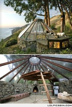 I Love Unique Home Architecture. Simply stunning architecture engineering full of charisma nature love. The works of architecture shows the harmony within. Earthship, Glamping, My Dream Home, Dream Big, Future House, Interior And Exterior, Yurt Interior, Rustic Exterior, Simple Interior
