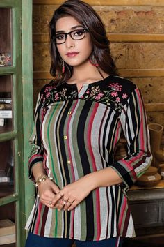 Catalog No : 14269 Call Or Whatsapp On +91 9377709531 #wholesaledealer #bulksupplier #bulkdealer #bulkmanufacturer #topsexporter #topmanufacturer   #stylish #dailywear #officewear #embroiderytop #rayontop #fancytop #factoryrates #worldwide   #ebulking Kurtis With Pants, College Wear, Party Wear Kurtis, Long Kurtis, Fancy Tops, Fashion Catalogue, Stylish Tops, Short Tops, Cotton Pants