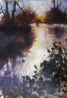 Pete Gilbert - New Forest Artist. The media used in this piece creates a juxtaposition in the tone of the piece, creating both warm and cold hues to evoke a sense of warmth.