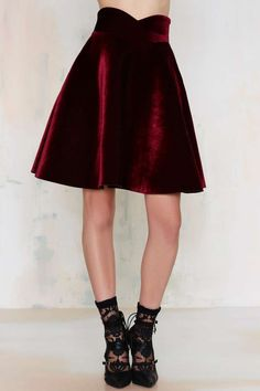 J.O.A. Lips Are Sealed Velvet Skirt - Clothes | Dark Romance | Dark Romance | Flared