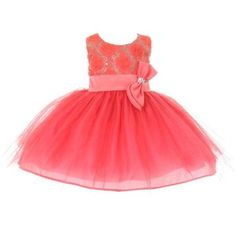Little Girls Coral Sequins Bow Sash Tulle Special Occasion Dress 4T - Walmart.com