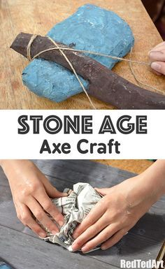 Stone Age Craft - How to make a Paper Axe. Fantastic Papier Mache project for Curriculum exploring the Stone Age. How to make a Stone Age Axe from paper.