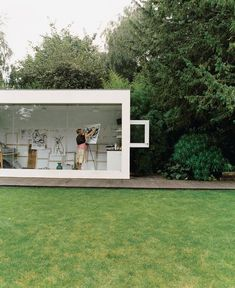 Phillips designed Judith a stark white, glass-fronted art studio. Tagged: Shed & Studio. Unique Artist's Studios We Love by Zachary Edelson from Victorian Secrets. Browse inspirational photos of modern sheds and studios. Home Art Studios, Art Studio At Home, Artist Studios, Art Studio Room, Studio Spaces, Studio Shed, Dream Studio, Best Office, Small Office