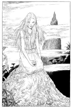 """""""They say a witch is buried here"""" illustration by Chris Riddell from Neil Gaiman's Graveyard Book"""