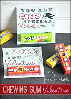 Chewing Gum Valentine's Day Cards (FreePrintables)