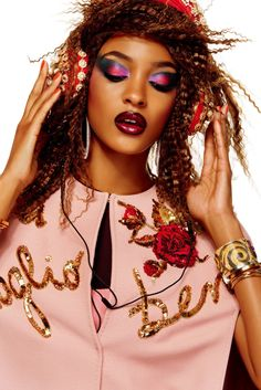 Jourdan Dunn in Dolce & Gabbana dress and headphones. Photographed by Giampaolo Sgura for Vogue Japan, December 2015