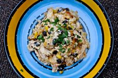 Cheesy Chicken and Rice Bake--Made it at home this weekend, and it was delicious! I added green onions and olives on half--so good!