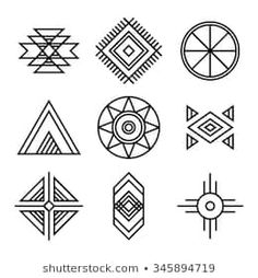 Similar Images, Stock Photos & Vectors of Native American Indians Tribal Symbols Set. Linear Style. Geometric icons isolated on white - 345894719
