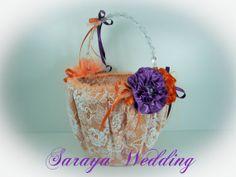 Flower Girl Basket  Wedding Basket in Orange by SarayaWedding, $85.00