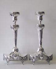 Fine Portuguese Sterling Silver Oval Base Candlesticks