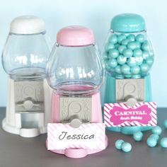 Lollipop Grove Mini Gumball Machines - fill with your favorite sweets to make the perfect party favor