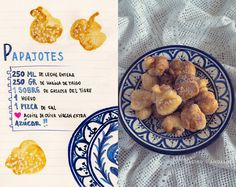 Receta tradicional de papajotes - You are in the right place about salute india Here we offer you the most beautiful pictures about - Tapas, Food Drawing, Spanish Food, Mediterranean Recipes, Stevia, Food Art, Donuts, Almond, Yummy Food
