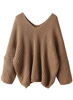Futurino Women's Solid Crew Neck Drop Sleeve Oversized Sweater Knit Jumper Pullover Top