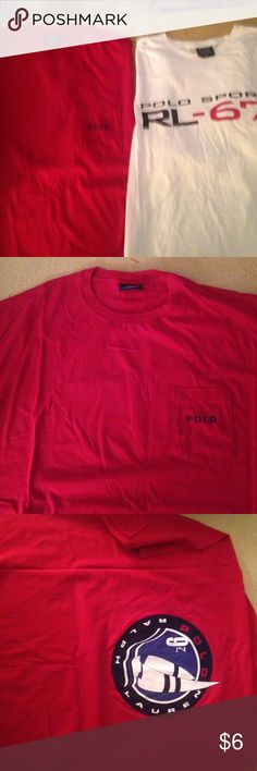 2-Mens XXL Ralph Lauren Polo Sport T-Shirts 2-Mens XXL Ralph Lauren Polo Sport T-Shirts. Red has Left Breast Pocket with Polo on Pocket and picture on back. White has Picture on Front, nothing on Back. Both 100% Cotton. Ralph Lauren Tops Tees - Short Sleeve