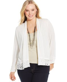Ny Collection Plus Size Lace-Trim Cardigan