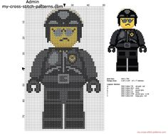 Bad Cop The Lego Movie character free cross stitch pattern