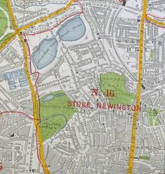 1938 map of Stoke Newington, Hackney showing the New River (now underground) flowing along western Church St