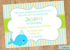 WHALE Printable Invitation Personalized WHALE by LollipopInk, $13.50