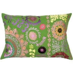 Inject the vibrant colors of spring into your home with this ultra-plush feather-filled throw pillow from the Suzani collection. The embroidered floral design creates an eye-catching contrast with the green backdrop.