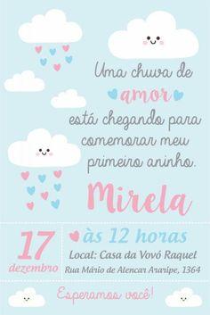 Festa Chuva de Amor convite cartão com fundo azul