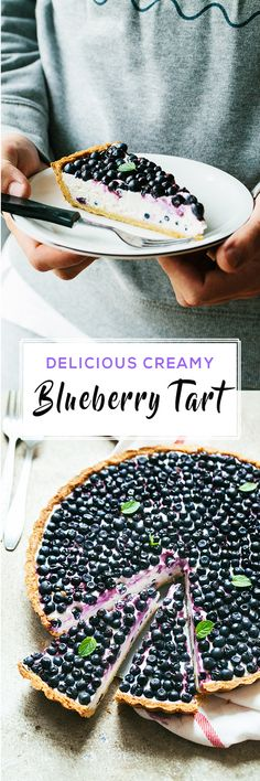 Delicious Blueberry, Greek Yogurt and Mascarpone Tart, made with homemade tart crust.