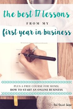 I started my online business helping other stay-at-home moms make money online this year. Find out the 46 things I was able to get done plus the 17 best lessons I learned in my first year in business. Click through to read the post and get your free email course How to Start an Online Business - perfect for moms who want to make a little passive or side money this year.