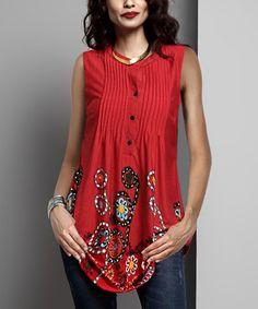 Look what I found on #zulily! Red Garden Sleeveless Notch Neck Pin-Tuck Tunic #zulilyfinds