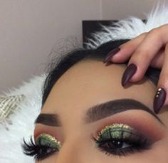 Olive green cut crease eye