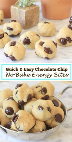 So easy and delicious! Chocolate Chip No Bake Energy Bites | Low Carb, Gluten Free, Low FODMAP, with Vegan and Paleo options | Get more healthy snacks and gluten free recipes at EA Stewart, The Spicy RD!