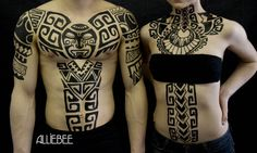 Polynesian style body paint tattoos by Alliebee Henna