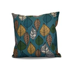 E by Design 16 x 16-inch, Autumn Leaves, Floral Print Outdoor Pillow (Blue) (Polyester)