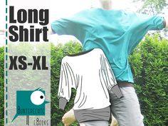 Ihr kauft ein Schnittmuster inkl. Nähanleitung für ein LongShirt im .pdf Format in einem .zip Ordner.  *★ Absolut anfängertauglich! ★*  Der Schnitt beeinhaltet die Größen XS-XL!  ★  Leicht...
