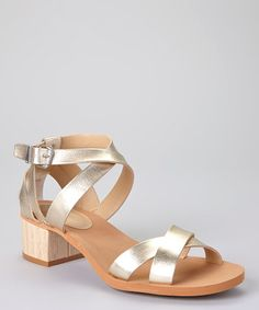Love this Light Gold Burnished Leather Molly Sandal by Calvin Klein Jeans on #zulily! #zulilyfinds