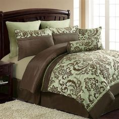 brown and green comforter set king - Google Search - I love this, just change the minty in for a more earthy green