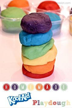 Homemade Kool-Aid Playdough, my Mom used to do this same recipe for my sister and I when we were kids, we loved it! Now to try it with my little one!