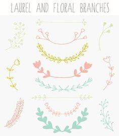 Laurel Branches Wreath Clip Art and Floral Laurel Branches