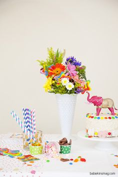 Colorful flower and animal party