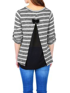 Pull femme noeud dos ouvert voile rayé gris et blanc chiné. Vêtements femme tendance http://milena-moda.com/  #pulls #tuniques #mode #chic #tendance #fashion #femme #shopping #boutique #femmes #glamour #marin #noeud